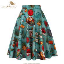 SISHION Design spódnica w kwiaty kobiety wysokiej talii Plus rozmiar biały różowy zielony niebieski panie letnie spódnice Skater 50s Vintage spódnica w kratę(China)
