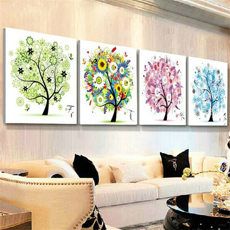 2016 Winter Four Season Home Decor Colorful Tree Counted