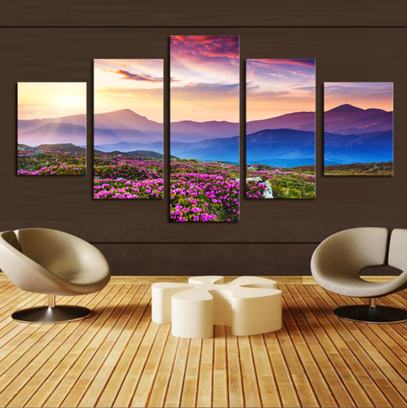 Гаджет  5 Piece(No Frame) The Sunset and The mountain Modern Home Wall Decor Canvas Picture Art HD Print Painting On Canvas Artworks None Дом и Сад