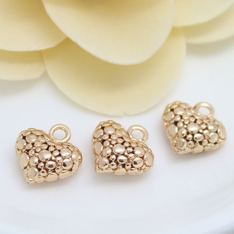 DIY Jewelry Charms Pendant Metal Beaded Material Wholesale Brass kc Gold Hollow Small Peach Heart-shaped Love Pendant(China (Mainland))