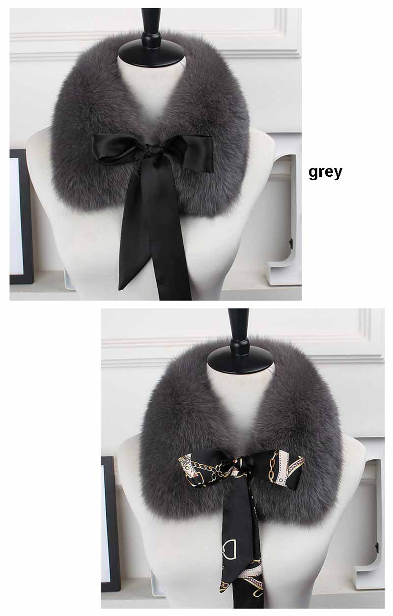 fox fur collar laces grey
