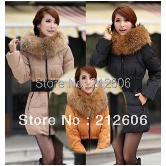 2013 New Arrival Women's Winter Jacket Fashion Luxury Large Fur Collar Slim Medium-long Thick Female Down Coat SQ741