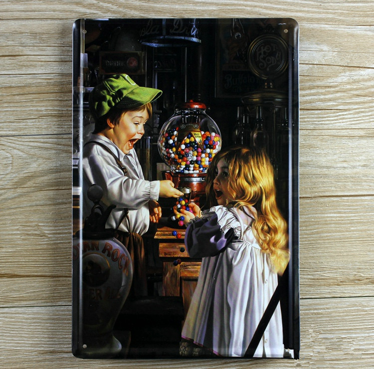 Free shipping child and candy Metal Tin Signs Vintage House Cafe bar Restaurant Poster retro Painting plates hot sale 20x30cm(China (Mainland))