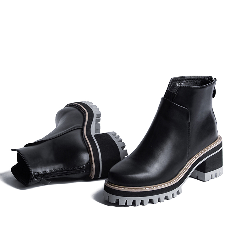 Autumn And Winter Women Shoes Vintage Fashion Ankle Boots Women Boots Thick Heel Leather Boots Female Back Zipper Shoes D75(China (Mainland))