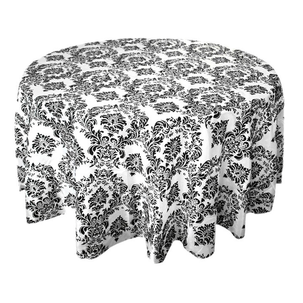12PCS 335cm x 335cm Square Black White Flocking Damask Table tablecloths For Wedding Table Linen Banquet Party Decorations(China (Mainland))