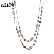 Buy 2015 Punk Woman Accessories Necklaces & Pendants Gold Color Chain Natural Stone Beads Necklace Gift Mothers Day SNE140254 for $4.72 in AliExpress store