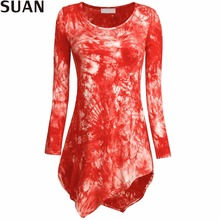 SUAN 2017 Womens Tie Dyed Hankerchief Hemline Tunic Top Pull On closure(China (Mainland))