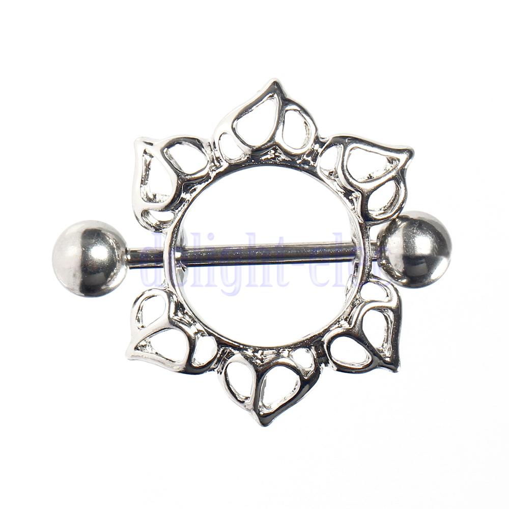 2X Sweet Surgical Steel Flower Body Nipple Bar Barbell Piercing Ring JW3052(China (Mainland))