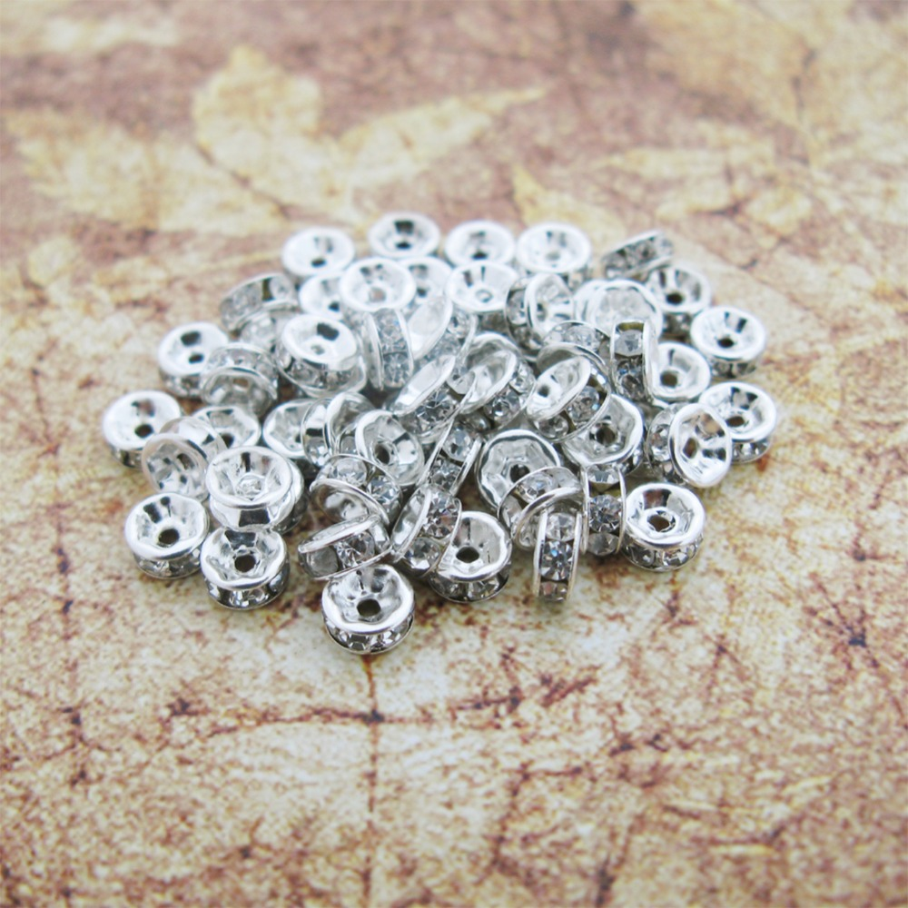 Free shipping100pcs Silver Tone 4MM Crystal Rhinestone Rondelle Spacer Beads Jewelry Makings Xjgz6001