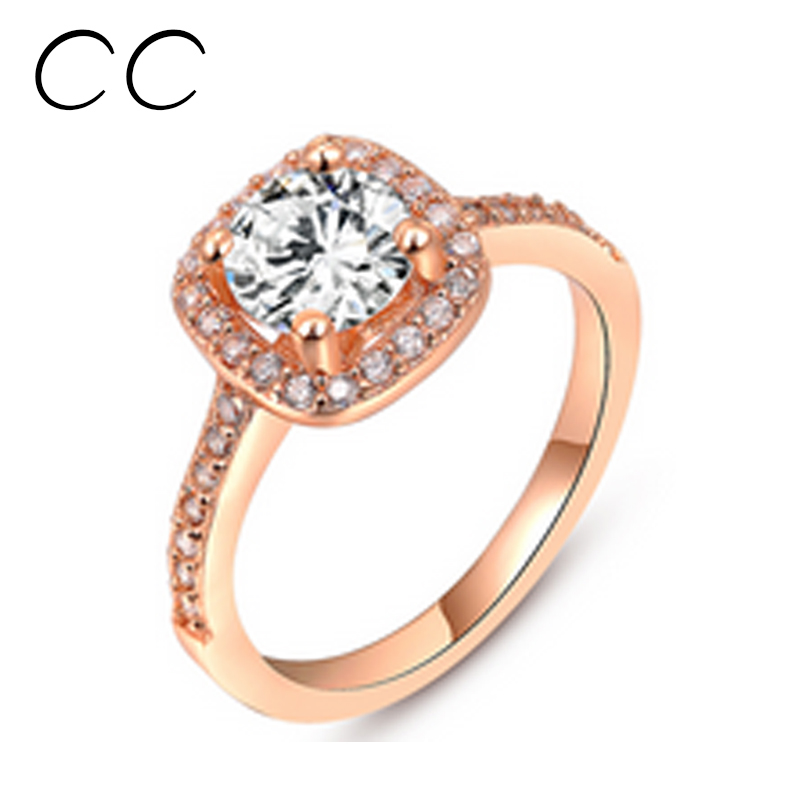 Rose Gold Plated Square Wedding Rings for Women CZ Diamond Fashion Rings Aneis Vintage Jewelry Ring Bijoux Bague Femme CC192(China (Mainland))
