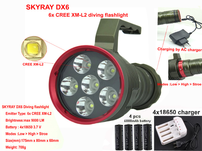 Diving Flashlight DX6 9000 Lumens 6x CREE XM-L2 LED Light Lamp Waterproof Torch+AC+4x 18650 6000mah+ wall charger