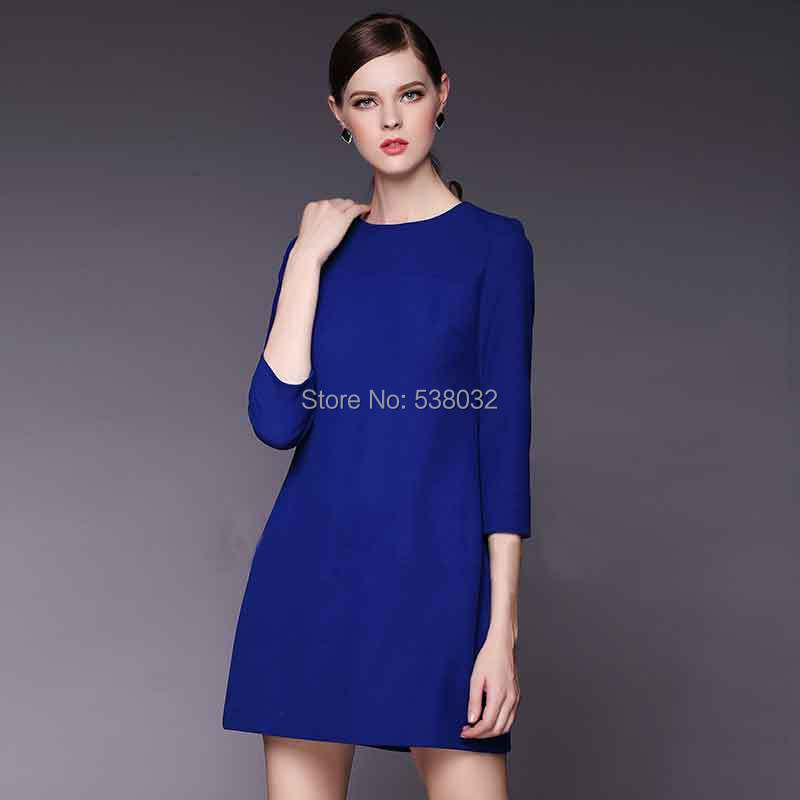 2015 autumn and winter dress fashion women career apparel solid royal blue dress simple atmosphere buxom lady plus size xxxl(China (Mainland))