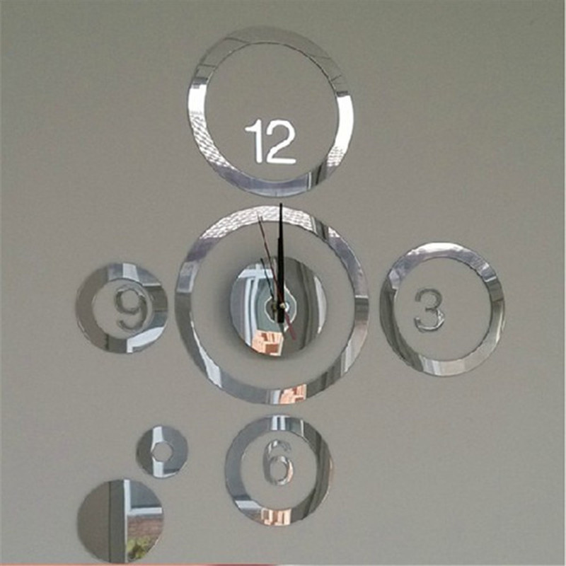 Creative 3D Home Modern Decoration Mirror Living Room DIY Wall Clock Silver 1PC
