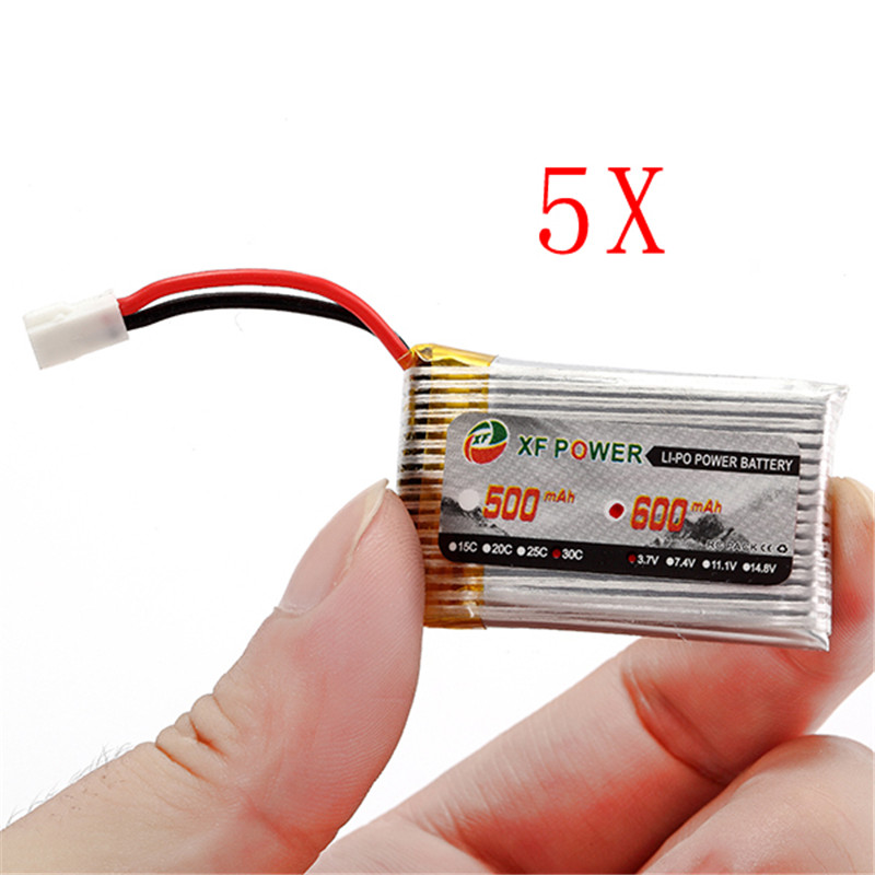 2017 New Arrival Rechargeable 5PCS XF Power 3.7V 600mAh 1S 30C Fabric Cable LiPo Battery White Plug(China (Mainland))