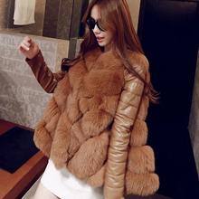 2015 winter new style warm fur coat fox fur coat PU sleeve loose cape coats medium long Overcoat large size womens(China (Mainland))