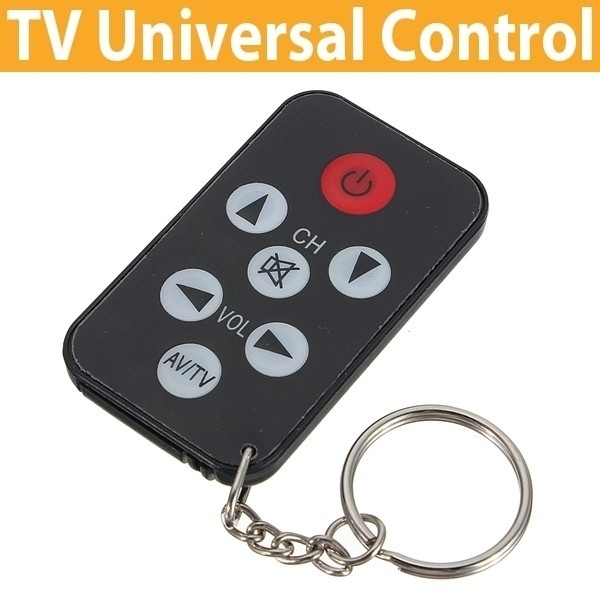 Universal Infrared Ir Mini Tv Television Remote Control Keychain Keyring 7 Keys Color Black(China (Mainland))