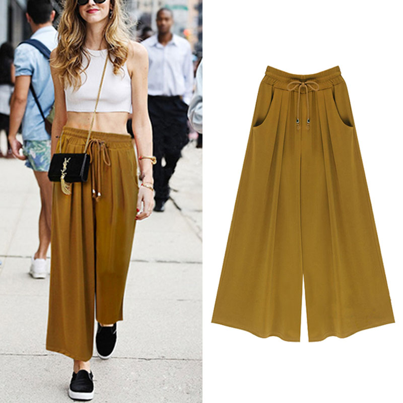 New Summer Fashion Harem Pants Casual Loose Cotton Blended Pleated Pockets Solid Elastic Waist Wide Leg Pants Plus Size(China (Mainland))