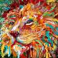 hand painted Abstract oil painting impressionism LION ANIMAL PORTRAIT painting Oil impasto palette knife modern fine