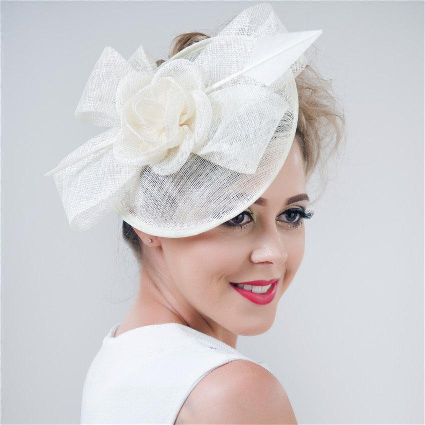 2015 Summer Style Women Sinamay Feather Fascinators Church Headpiece Party Wedding Hats Ivroy,pink Sfcs12341 4pcs/lot/lot(China (Mainland))