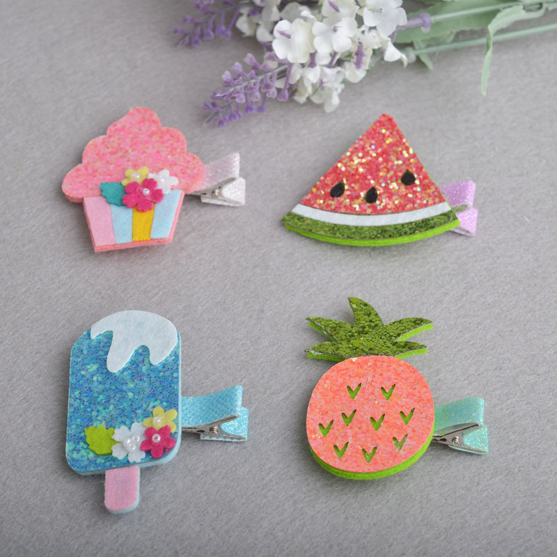 2 pieces Lovely Girls ice cream hair clips hair accessories Girl Baby Kids Hair Clips Colorful Children Hairpin(China (Mainland))