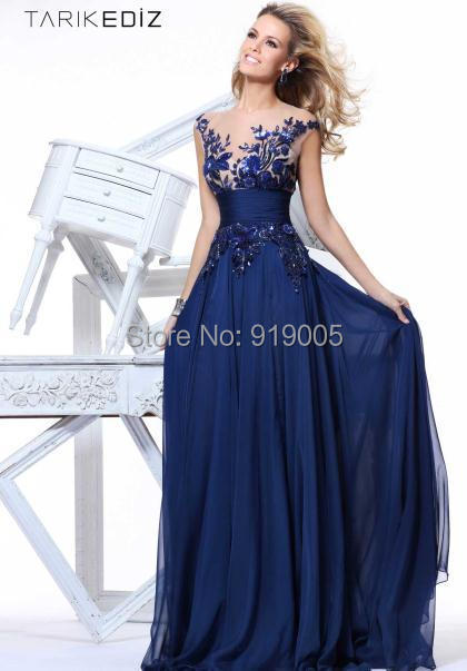 Elegant Navy Blue A-Line High Waist Chiffon Appliques 1219 Long Party Dress Prom Gown 2014 Sleeveless - SuSu D Store store