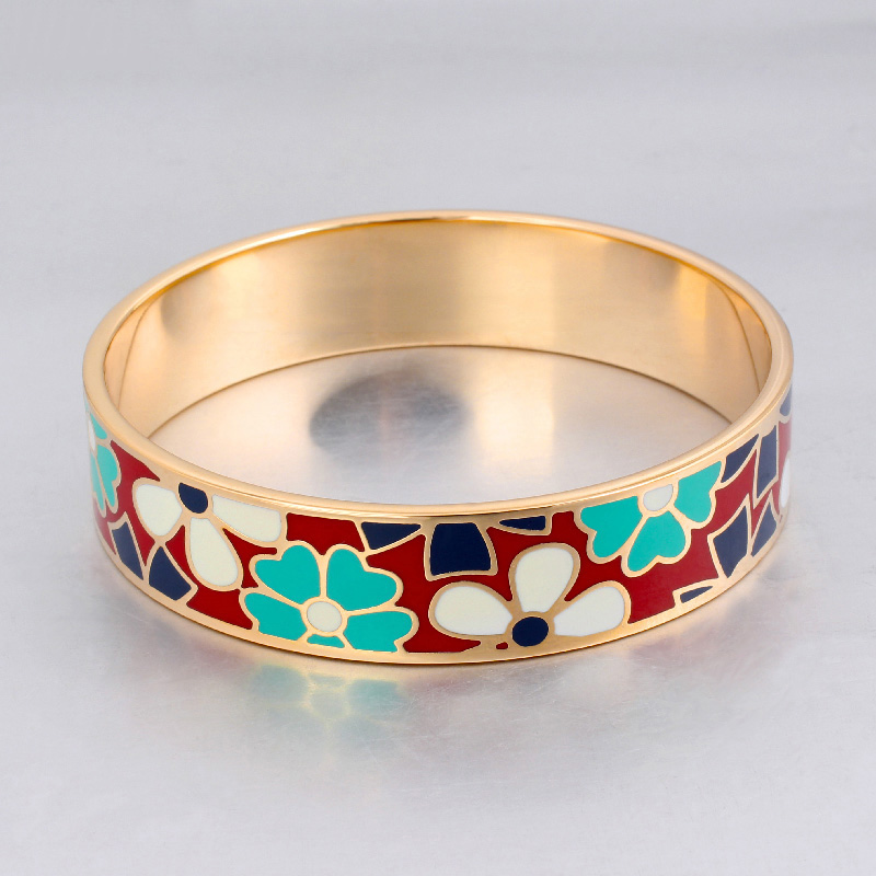 Dubai Jewelry 16mm Width Big Geometry Designs Vintage Bracelet Bangle Gold-color Stainless Steel Enamel Bangles for Women(China (Mainland))