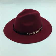 Sweet Girl new arrive autumn winter style hat 8 color chain Accessories women fedoras hat(China (Mainland))