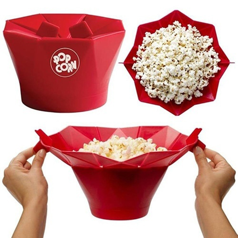 1 Pcs Free shipping Silicone Microwave Magic Popcorn Maker Popcorn Container Healthy Cooking Kitchen Accessories(China (Mainland))