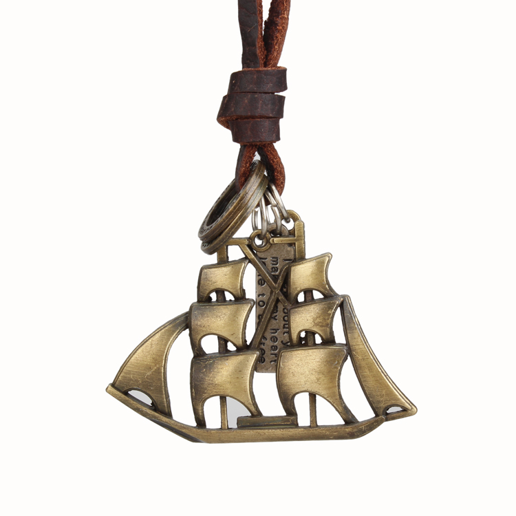 Genuine leather copper/silver sailboat collar choker pendant necklace for men women fashion men's statement necklace jewelry(China (Mainland))