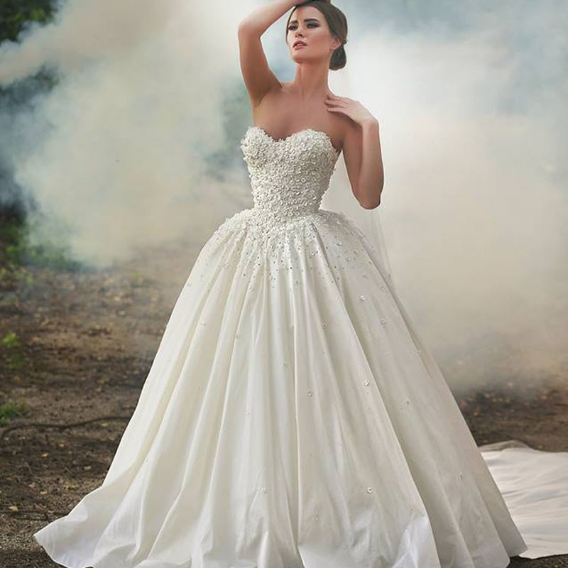Bridal Dress Silk Taffeta Court Train Sweetheart Appliques Top Sellers Wedding Gowns China Online Store(China (Mainland))