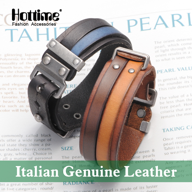 Hot Italian Genuine Leather Cuff Double Wide Bracelet And Rope Bangles Brown For Men Fashion Man Bracelets Unisex Jewelry PG013(China (Mainland))