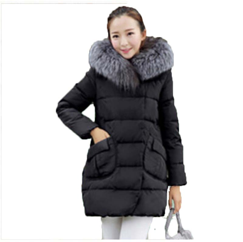 new 2015 winter warm White duck 90% down jacket women Luxury fur collar Thick Slim hooded plus size Long down jacket Coat AE680