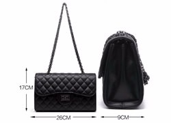 Classy Chain Quilted Bag Women Embossed PU Handbag Designer Luxury Lady Diamond Lattice Shoulder Bag Stylish Black Crossbody Bag