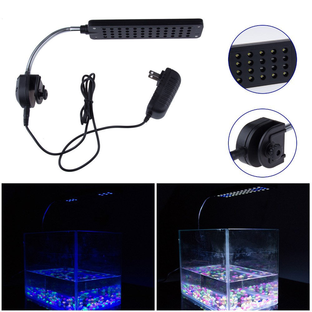 High Quality 48 LED Aquarium Light Fish Tank Lamp with Flexible Clip White and Blue Color Lighting With CE ROHS Aprroval(China (Mainland))