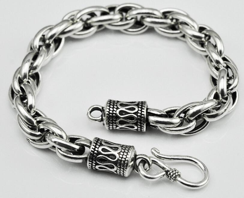 Thai silver bracelet 925 silver bracelet couple of original handmade vintage men and women safe buckle pattern bracelets(China (Mainland))