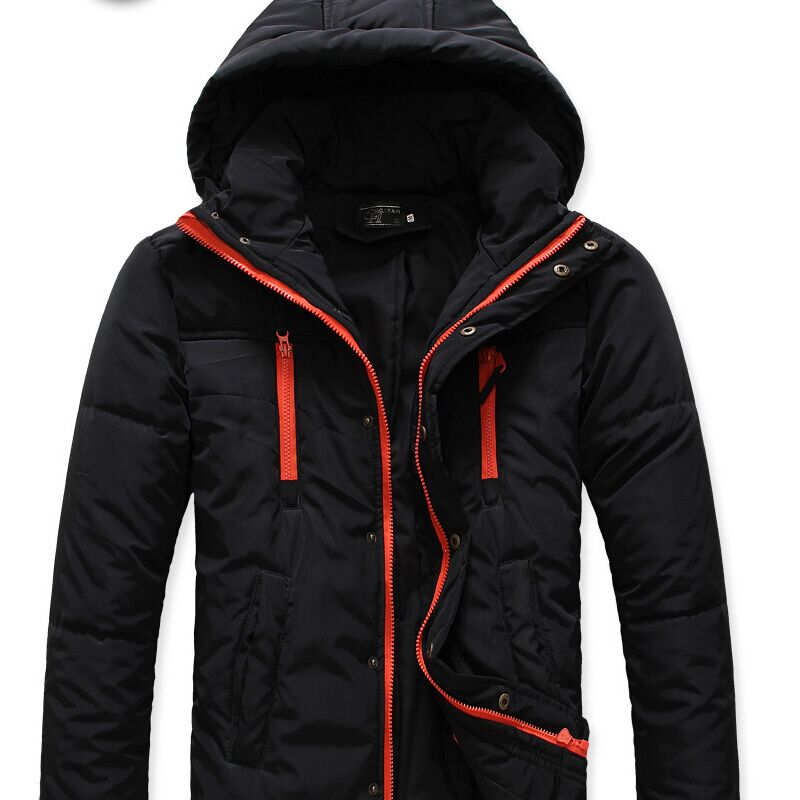 Men jacket coat cotton Clothes 2015 jacket Short paragraph lapel thick warm spell color hooded brand