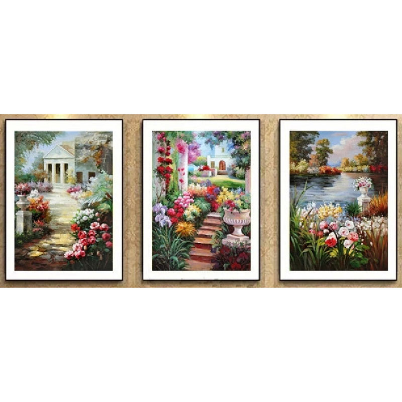 Diy diamond painting Flower triptych diamond painting rhinestone pasted painting 5d diamond cross stitch living house decorative