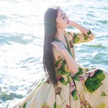 Spring Summer Women National Trend Chinese Style Print Cheongsam One-Piece Dress Novelty Vintage Cotton Irregular Long Dress