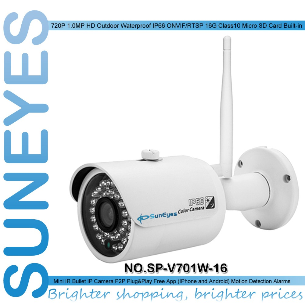 SunEyes  SP-V701W-16 Outdoor Wireless IP Camera 720P HD with 16G Class10 Micro SD Built-in IR Night Vision Free P2P for Phone <br><br>Aliexpress