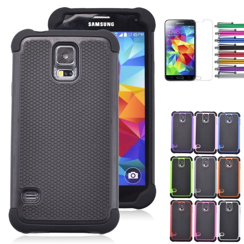 i9600 S5 Case Cool Armor Shockproof Dual Layer Silicone Hard Back Cover For Samsung Galaxy S5 i9600 Phone Cases+Screen Film +Pen(China (Mainland))