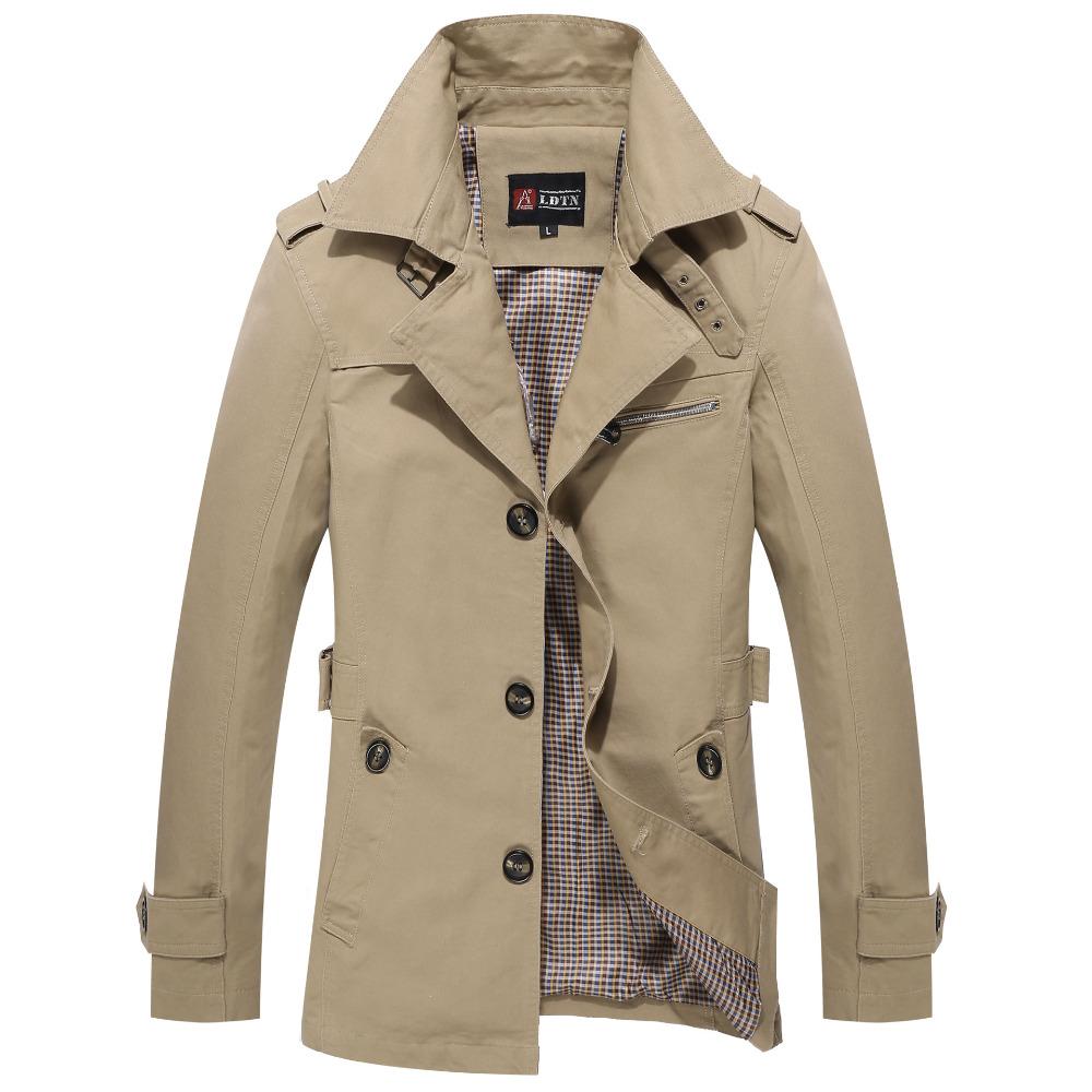 2015 Fashion British Style Autumn Men Trenchcoat Casual Mens Trench Coats Long Jacket Plus Size 13M0268