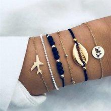 Bohemian Feather Flower Bracelet Woman New Fashion Beaded Chain Bracelet Multilayer DIY Handmade Jewelry Gift 5PCS / set(China)