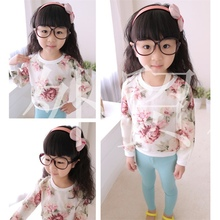 Gauze big bright flowers Fleece joker chilren girls Hoodies Sweatshirts Colorful casual Style Clothes(China (Mainland))