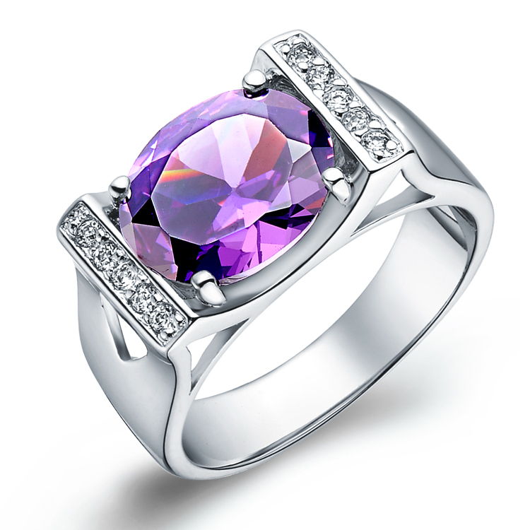 2014 new Unusual 925 Silver Ring Ladies Rings Amethyst Big Rings For Women Jewelry Wedding Top Quality Square Zircon Ulove J121(China (Mainland))