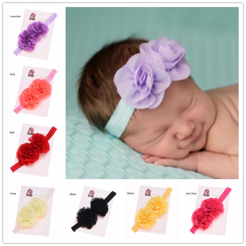 30PCS Baby Girls Chiffon Ruffles Hair flower headband Baby Hairbow Elastic Headband Casual Headband Flower Cute Hair Bow(China (Mainland))