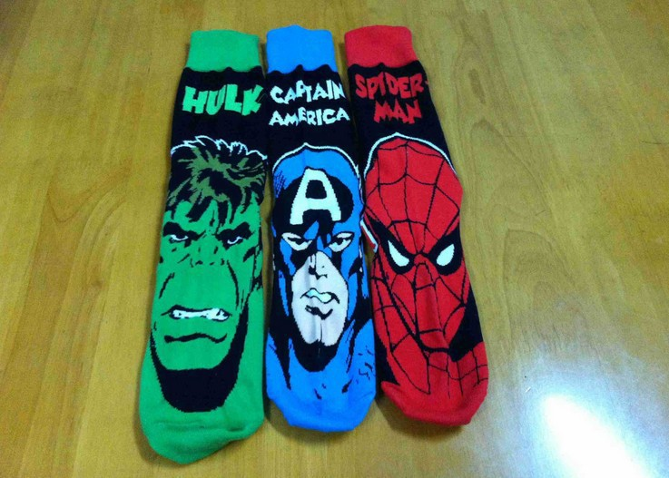 24pcs=12pair USA HOT Flash superman Captain America Hulk spider-man Film Fans Plantlife Skateboarding Sport Socks 2 - leggings king store