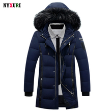 New 2016 Down Coat Luxury Men Casual Hooded Solid Color 90% White Duck Down Parkas Warm Long Male Winter Jacket Fur Plus Size(China (Mainland))