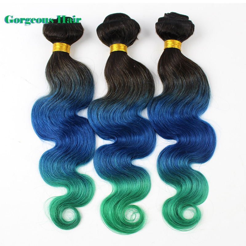 1 Pc/lot Free Shipping New Arrival Ombre Human Hair 1B Blue Green Body Wave Weave Three Tone Human Hair <br><br>Aliexpress