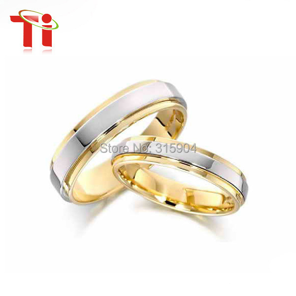 Free Engrave Customize titanium ring Size4-14 18K gold plated woman ring  titanium wedding bands