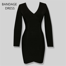 Buy 2017 BANDAGE DRESS New Stylish Long Sleeve V-Neck Knitted Sexy Ladies Bodycon Bandage Dress Wholesale HL J266 for $54.26 in AliExpress store